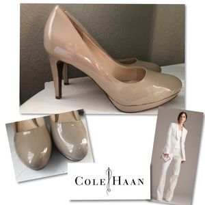 COLE HAAN NUDE PATENT LEATHER HEELS PUMPS SZ 9.5 C